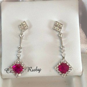 St Silver Ruby & Cubic Zirconia drop earrings $150
